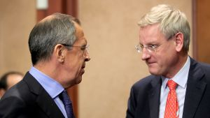 Sergei Lavrov och Carl Bildt i oktober 2009.