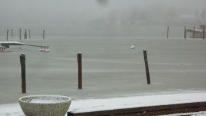 Hamnen i Ekenäs ligger grå och öde.