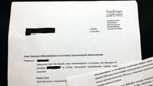 I brevet som Per fick uppmanas han att betala 1 200 euro för fildelning.