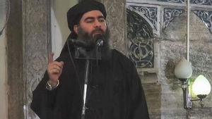 Islamiska staten IS ledare Abu Bakr al-Baghdadi på en av IS videor.