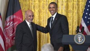 USA:s president Barack Obama och Afghanistans  president Ashraf Ghani under en gemensam presskonferens i Vita Huset 24.3.2015