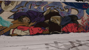 Martinlaakson ostoskeskuksen viereinen graffitiseinä