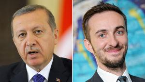 Turkiets premiärminister Recep Tayyip Erdoğan (t.v.) och den tyska komikern Jan Böhmermann (t.h.).