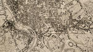 Gammal karta av Rom.
