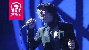 Ville Valo från HIM sjunger med en grimas.
