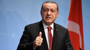 Recep Tayyip Erdogan håller tal framför en Turkiet-flagga.