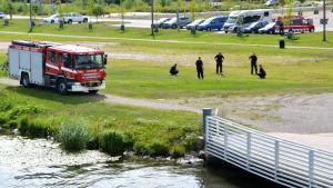 Gräsplätt vid åstranden, 5 brandmän i ring runt fågel, brandbil till vänster om dem.