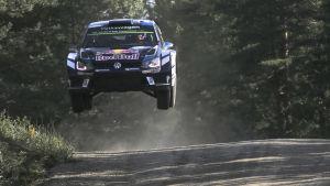 Sebastien Ogier i Jyväskyläs VM-rally.