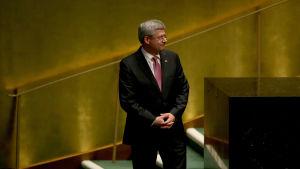 Kanadas premiärminister Stephen Harper efetr att ha talat på FN:s generalförsamling i New York, september 2014.