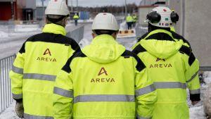 Anställda vid Arevas kärnkraftsbygge i Olkiluoto
