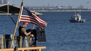 Amerikansk patrullbåt i Bahrain där USA har en stor flottbas