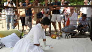 Indian artist Nikhil Chopra performs inside a cage during the 12th edition of the Havana Art Biennial, in Havana, Cuba, 22 May 2015.