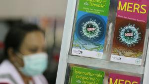 Informationsblad om virussjukdomen mers i Bankok.