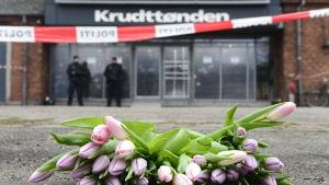 Kulturhuset Krudttønden dagen efter terrorattacken.