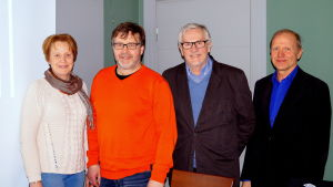 Yvonne Liljedahl-Lund, Bernt Storbacka, Tapio Härkönen, Åke Jåfs utreder en eventuell biogasanläggning.