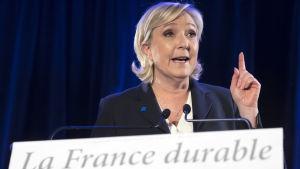 Ledaren för Nationella fronten, Marine Le Pen under en presskonferens i Paris 26.1.2017