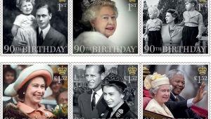 Brittiska frimärken som hyllar den nittioåriga drottningen Elizabeth II.