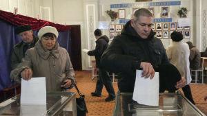 Folk röstar i parlamentsvalet i östra Ukraina 2. november 2014.