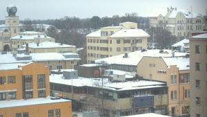 Jakobstad fotograferat från nioende våningen i Ehrs Höghet.