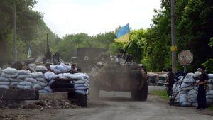 Ukrainska soldater i Slovjansk den 13 maj 2014.