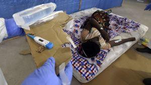 Ebolapatient i Liberias huvudstad Monrovia den 3 oktober 2014.
