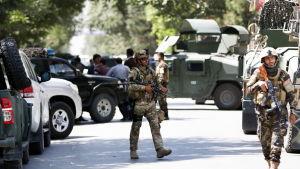 Afghansk militär försäkrar sig om att den Irakiska ambassaden i Kabul är trygg efter en attack, 31.7.2017.