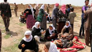 JIhadistgruppen IS håller fortfarande 3 200 kidnappade yazidiska kvinnor och barn som sexslavar. IS har frigett äldre kvinnor och män som dessa i Irak mot stora lösensummor