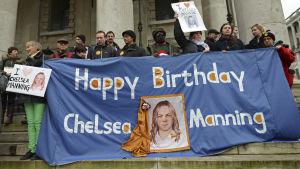 En demonstration till stöd för Chelsea Manning i London i december 2014.