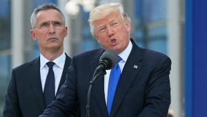 President Trump talar på Nato-toppmötet i Bryssel.