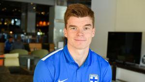 Albin Granlund reste med landslaget till Island.