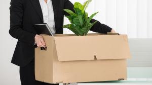 En kvinna i kostym bär en låda med en krukväxt.