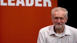 Jeremy Corbyn under ett kampanjtal den 2 september 2015.