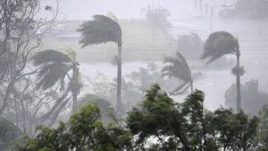Den tropiska cyklonen Debbie sveper över Airlie beach i Queensland. den uppgraderades i natt till en fyra på stormskalan - den näst högsta kategorin