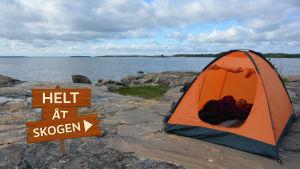 Helt åt skogen sätter upp ett tält