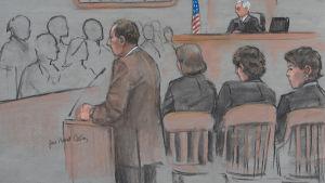 Rättegång mot en av de misstänkta bombarna under Boston maraton 2013.