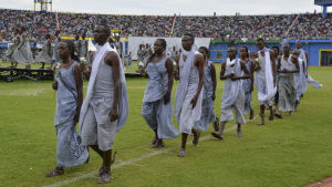 Offren för folkmordet hedrades i Rwandas huvudstad Kigali 20 år efter folkmordet, i april 2014.
