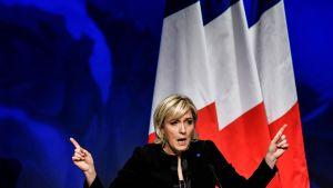 Nationella frontens Marine Le Pen inledde sin valkampanj i Lyon i Frankrike den 5 februari 2017.