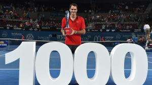 Roger Federer knep seger nr 1000 i Brisbane.