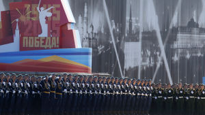 Övning inför segerdagsparaden i Moskva.