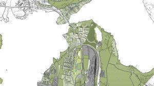 En karta i vitt, grönt och grått som visar Lojo centrum ovanifrån.