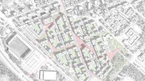 En karta över det planerade bostadsområdet på travbanan i Vasa. På bilden ser man bland annat hur klemetsögatan har förlängts, hur den korsas av en esplanad och hur ett torg bildas i de gatornas korsning.