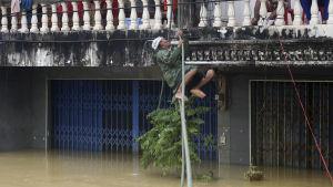 En man klättrar upp på en balkong på från en översvämmad gata i provinsen Nakhon Si Thammarat, i södra Thailand 6.1.2017