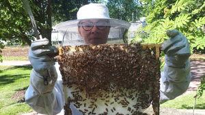 Tanja Oreto och en bikupa.
