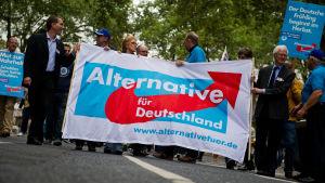 Anhängare till högerpopulistpartiet i Tyskland AfD bär på en banderoll