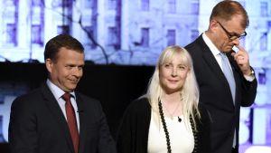 Petteri Orpo, Laura Huhtasaari och Juha Sipilä i programmet A-studio 12 juni 2017