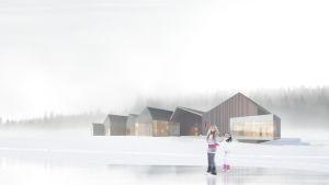 Arkkitehti Anssi Lassilan suunnittelema taidehalli, havainnekuva