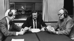 Harry Krogerus, Björn Federley och Göran Bergman i Naturväktarstudion 1982