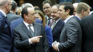 Francois Hollande och Alexis Tsipras på EU:s toppmöte i Bryssel