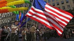 The Boy Scouts of America deltog i den 44:e prideparaden i New York den 29 juni 2014.