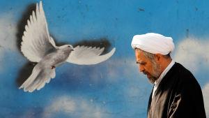 Iransk man den 16 januari inför IAEA:s väntade besked att sanktionerna mot Iran hävs.